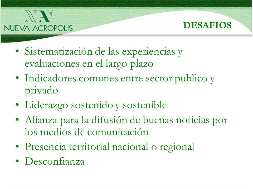 DESAFIOS Sistematización de las experiencias y evaluaciones en el largo plazo Indicadores comunes entre sector publico y privado Liderazgo sostenido y
