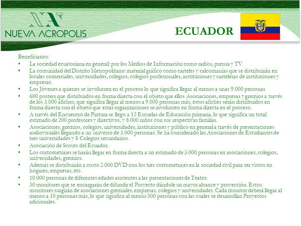 Beneficiarios: La sociedad ecuatoriana en general: por los Medios de Información como radios, prensa y TV. La comunidad del Distrito Metropolitano: ma