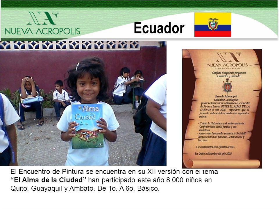 Ecuador El Encuentro de Pintura se encuentra en su XII versión con el tema El Alma de la Ciudad han participado este año 8.000 niños en Quito, Guayaqu