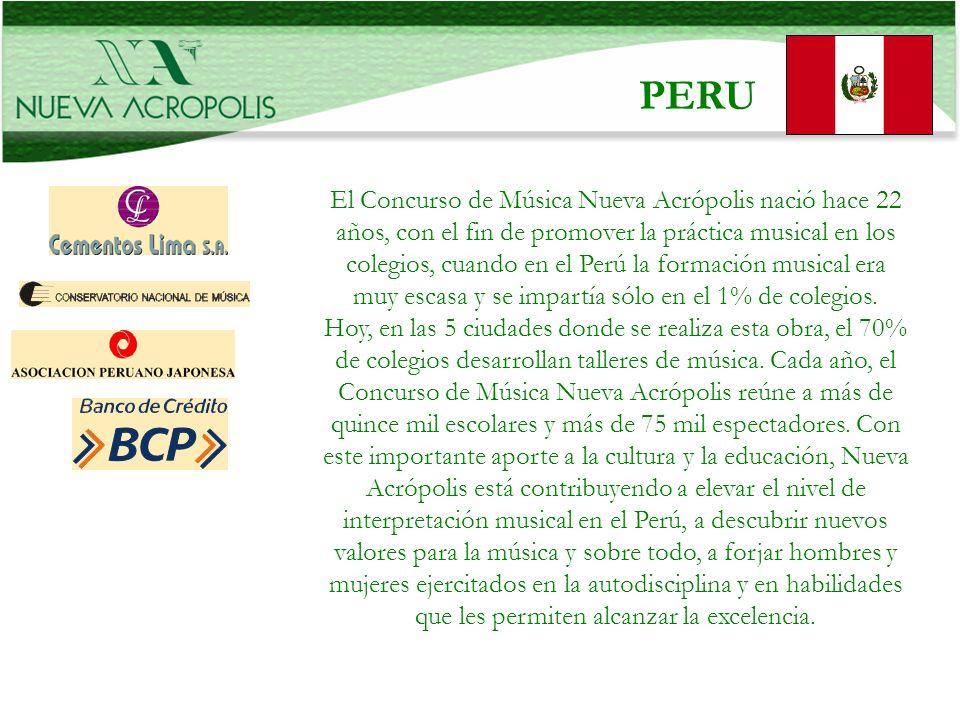 . PERU El Concurso de Música Nueva Acrópolis nació hace 22 años, con el fin de promover la práctica musical en los colegios, cuando en el Perú la form