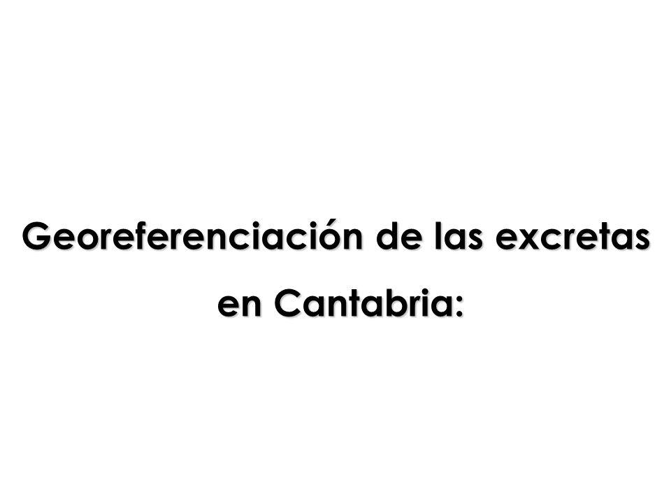 Georeferenciación de las excretas en Cantabria: en Cantabria:
