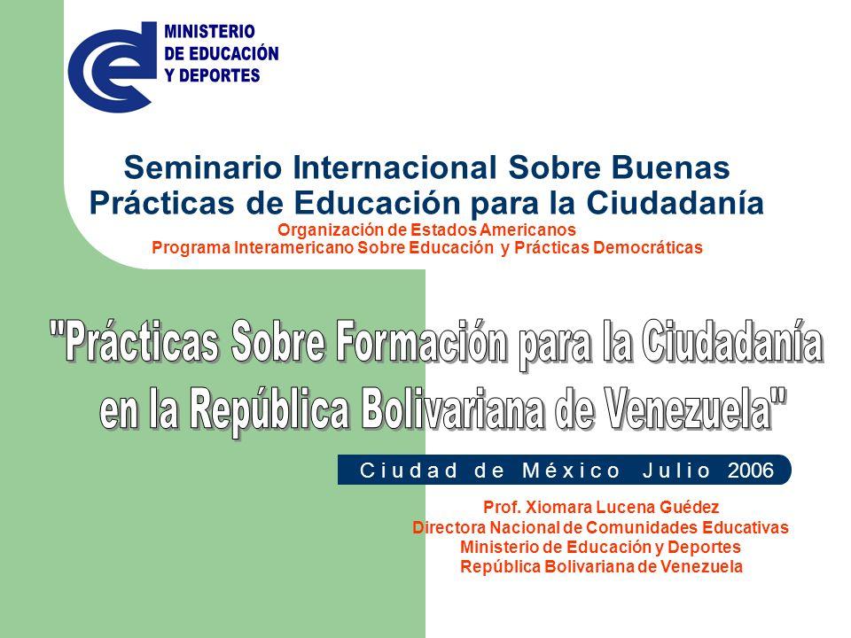 C i u d a d d e M é x i c o J u l i o 2006 Seminario Internacional Sobre Buenas Prácticas de Educación para la Ciudadanía Organización de Estados Amer