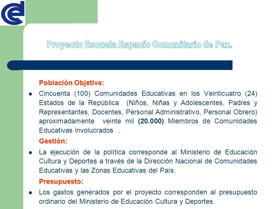 Población Objetiva: Cincuenta (100) Comunidades Educativas en los Veinticuatro (24) Estados de la República (Niños, Niñas y Adolescentes, Padres y Rep