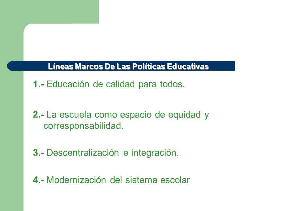 1.- Educación de calidad para todos. 2.- La escuela como espacio de equidad y corresponsabilidad. 3.- Descentralización e integración. 4.- Modernizaci