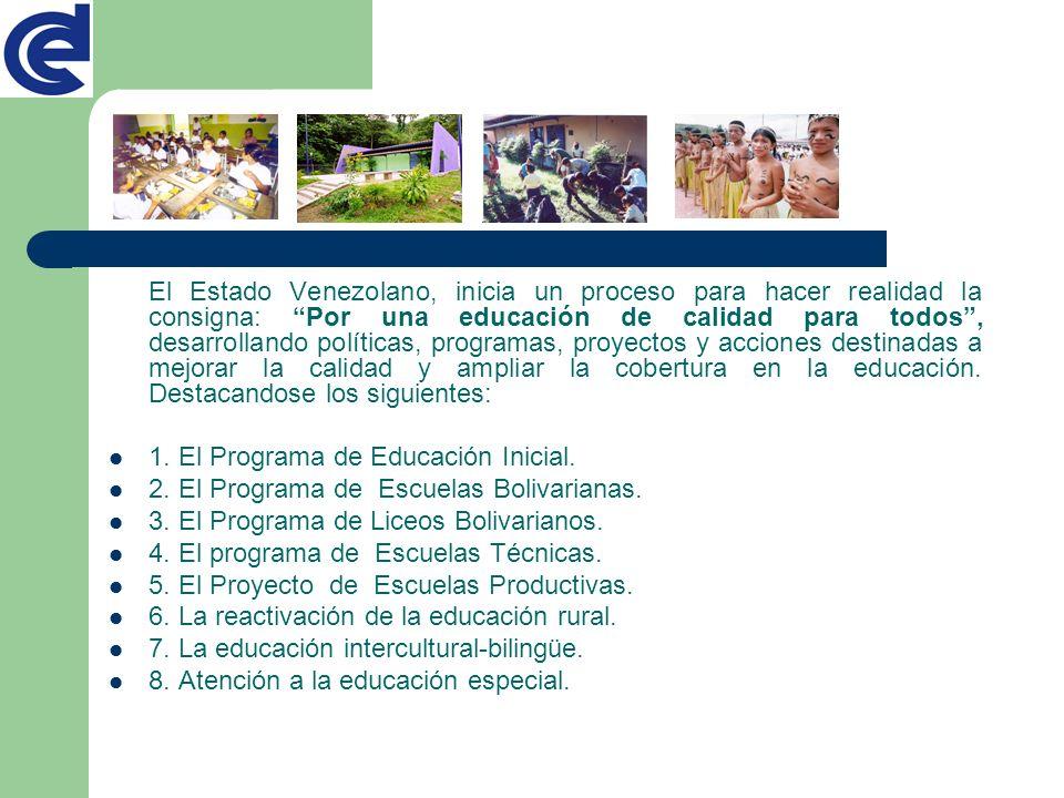 El Estado Venezolano, inicia un proceso para hacer realidad la consigna: Por una educación de calidad para todos, desarrollando políticas, programas,
