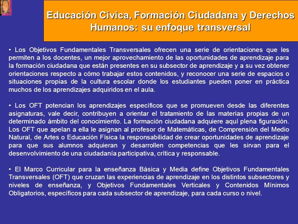 Educación Cívica, Formación Ciudadana y Derechos Humanos: su enfoque transversal Los Objetivos Fundamentales Transversales ofrecen una serie de orient