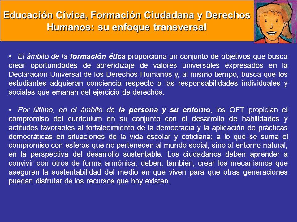Educación Cívica, Formación Ciudadana y Derechos Humanos: su enfoque transversal El ámbito de la formación ética proporciona un conjunto de objetivos