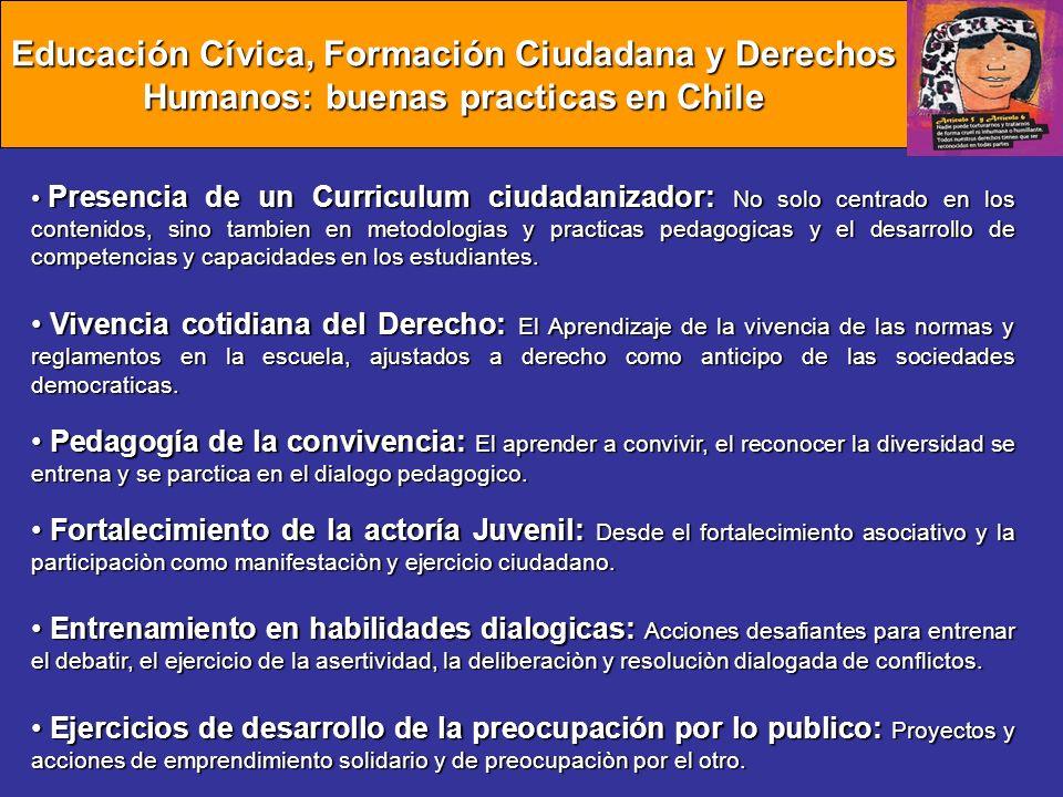 Educación Cívica, Formación Ciudadana y Derechos Humanos: buenas practicas en Chile Presencia de un Curriculum ciudadanizador: No solo centrado en los