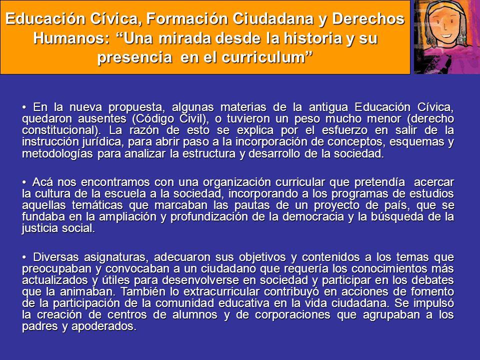 El periodo de Dictadura Con el régimen militar se vuelve a la situación pre-reforma, estableciendo la asignatura de Educación Cívica y Economía, con 3 horas semanales en 1° y 2° medio.