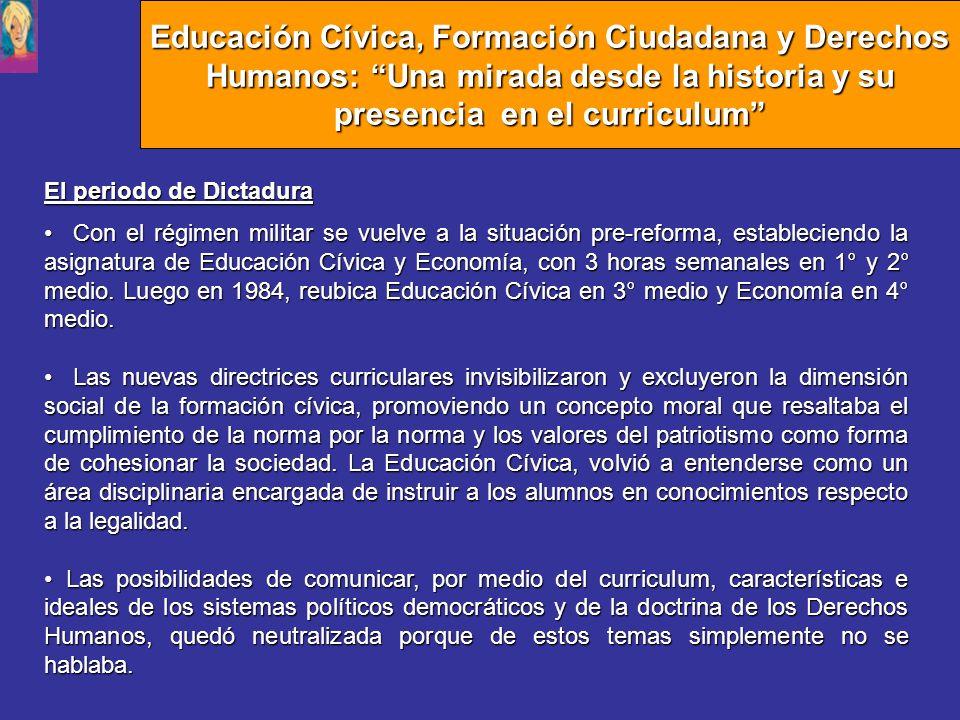 El periodo de Dictadura Con el régimen militar se vuelve a la situación pre-reforma, estableciendo la asignatura de Educación Cívica y Economía, con 3