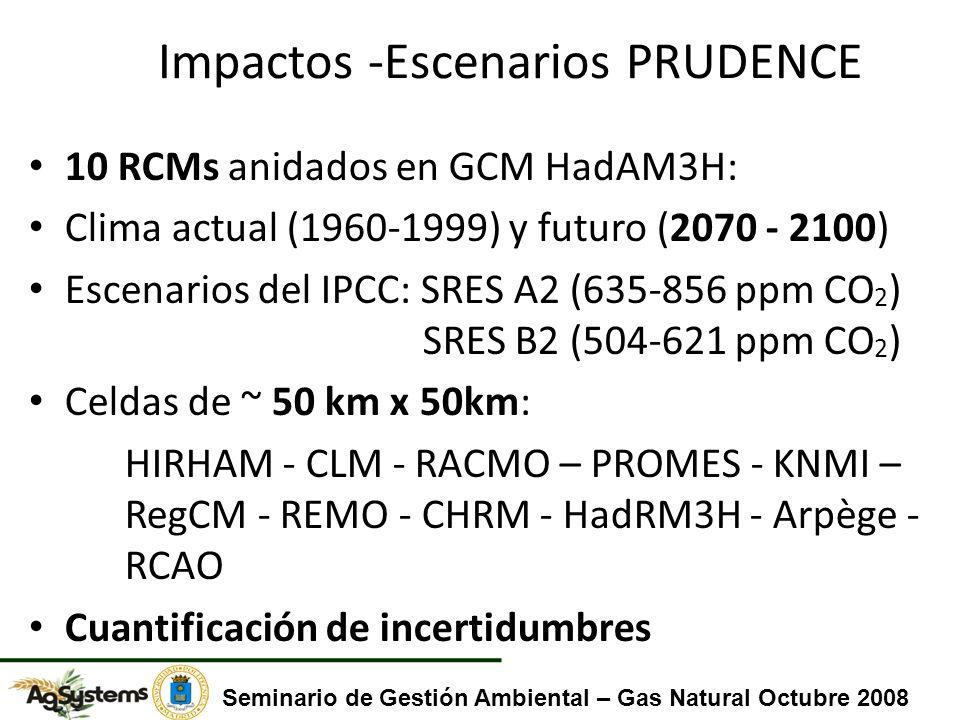 Impactos -Escenarios PRUDENCE 10 RCMs anidados en GCM HadAM3H: Clima actual (1960-1999) y futuro (2070 - 2100) Escenarios del IPCC: SRES A2 (635-856 ppm CO 2 ) SRES B2 (504-621 ppm CO 2 ) Celdas de ~ 50 km x 50km: HIRHAM - CLM - RACMO – PROMES - KNMI – RegCM - REMO - CHRM - HadRM3H - Arpège - RCAO Cuantificación de incertidumbres Seminario de Gestión Ambiental – Gas Natural Octubre 2008