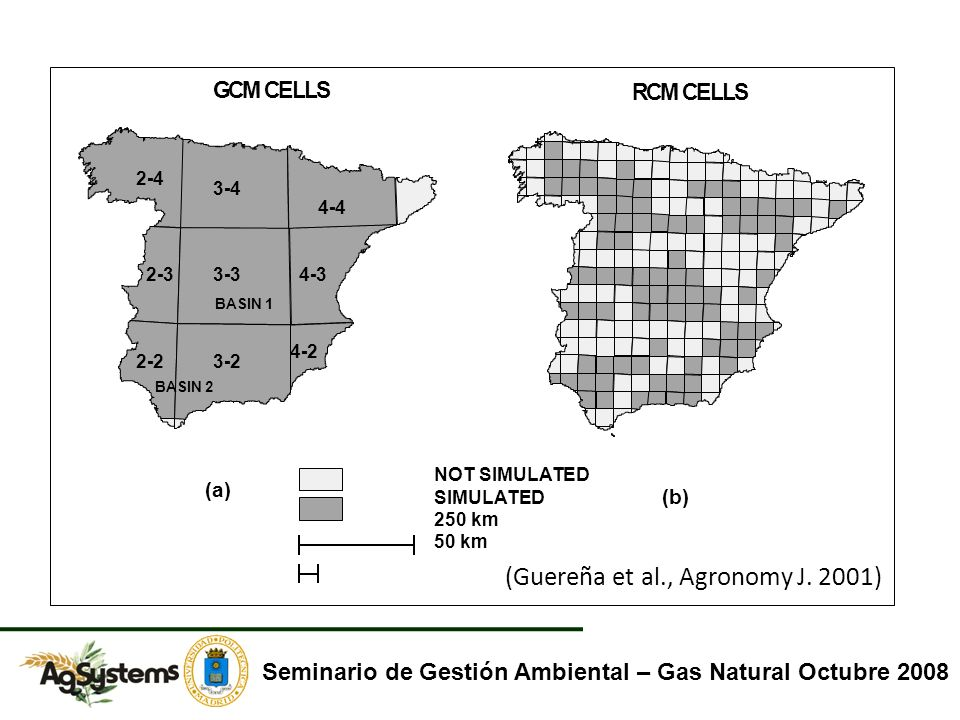 GCMCELLS RCMCELLS (a) (b) 3-3 3-22-2 4-2 4-32-3 3-4 2-4 4-4 BASIN 2 BASIN 1 NOT SIMULATED SIMULATED 250 km 50 km Seminario de Gestión Ambiental – Gas Natural Octubre 2008 (Guereña et al., Agronomy J.