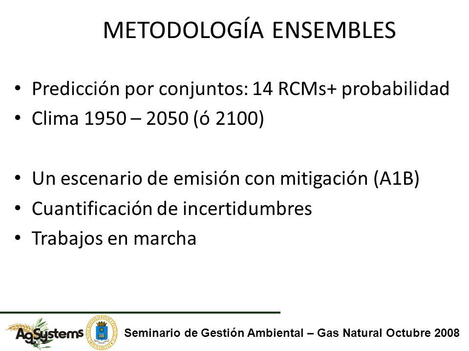 METODOLOGÍA ENSEMBLES Predicción por conjuntos: 14 RCMs+ probabilidad Clima 1950 – 2050 (ó 2100) Un escenario de emisión con mitigación (A1B) Cuantifi