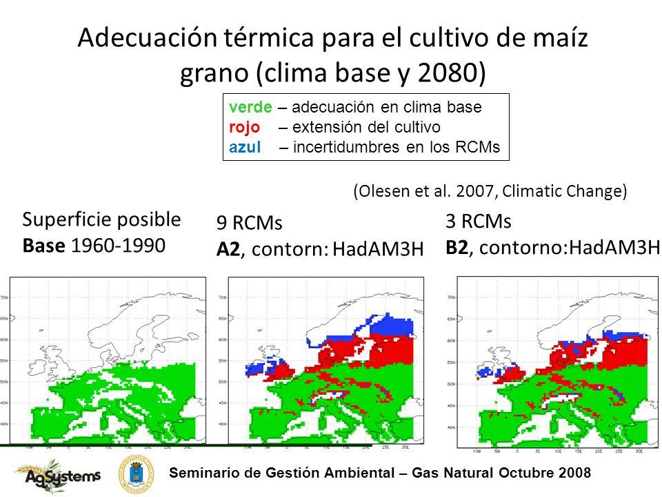 Adecuación térmica para el cultivo de maíz grano (clima base y 2080) verde – adecuación en clima base rojo – extensión del cultivo azul – incertidumbres en los RCMs Superficie posible Base 1960-1990 3 RCMs B2, contorno:HadAM3H 9 RCMs A2, contorn: HadAM3H (Olesen et al.