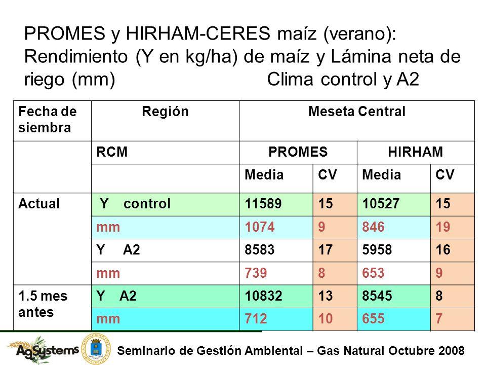 Fecha de siembra RegiónMeseta Central RCMPROMESHIRHAM MediaCVMediaCV Actual Y control11589151052715 mm1074984619 Y A2858317595816 mm73986539 1.5 mes antes Y A2108321385458 mm712106557 PROMES y HIRHAM-CERES maíz (verano): Rendimiento (Y en kg/ha) de maíz y Lámina neta de riego (mm)Clima control y A2 Seminario de Gestión Ambiental – Gas Natural Octubre 2008