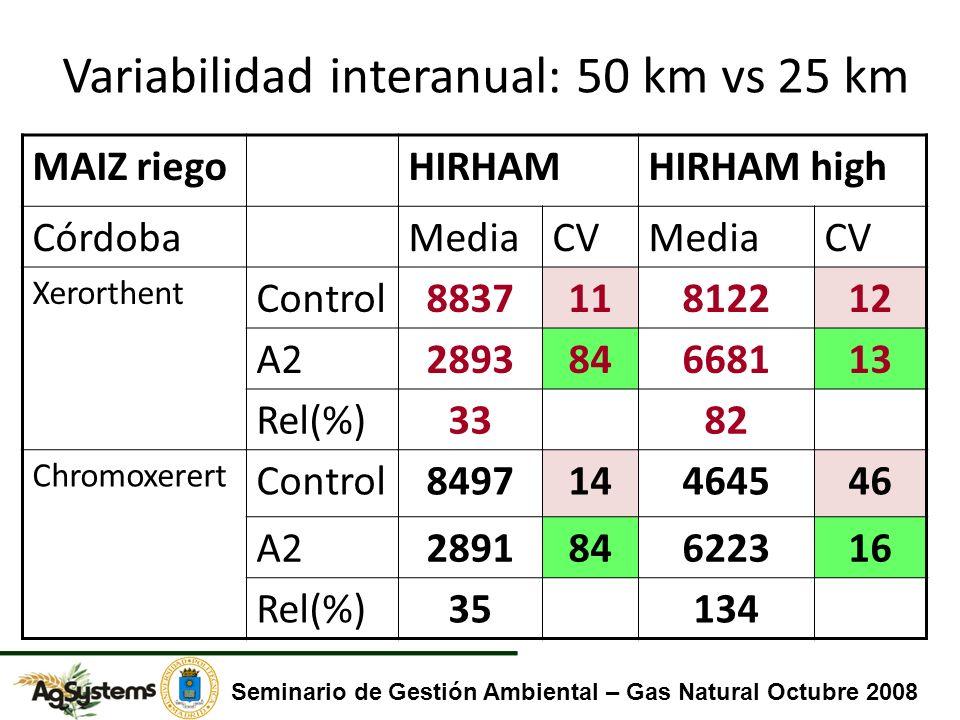 MAIZ riegoHIRHAMHIRHAM high CórdobaMediaCVMediaCV Xerorthent Control883711812212 A2289384668113 Rel(%)3382 Chromoxerert Control849714464546 A2289184622316 Rel(%)35134 Variabilidad interanual: 50 km vs 25 km Seminario de Gestión Ambiental – Gas Natural Octubre 2008