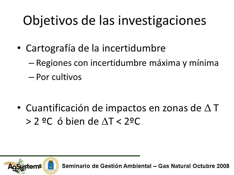 Objetivos de las investigaciones Cartografía de la incertidumbre – Regiones con incertidumbre máxima y mínima – Por cultivos Cuantificación de impactos en zonas de Δ T > 2 ºC ó bien de T < 2ºC Seminario de Gestión Ambiental – Gas Natural Octubre 2008