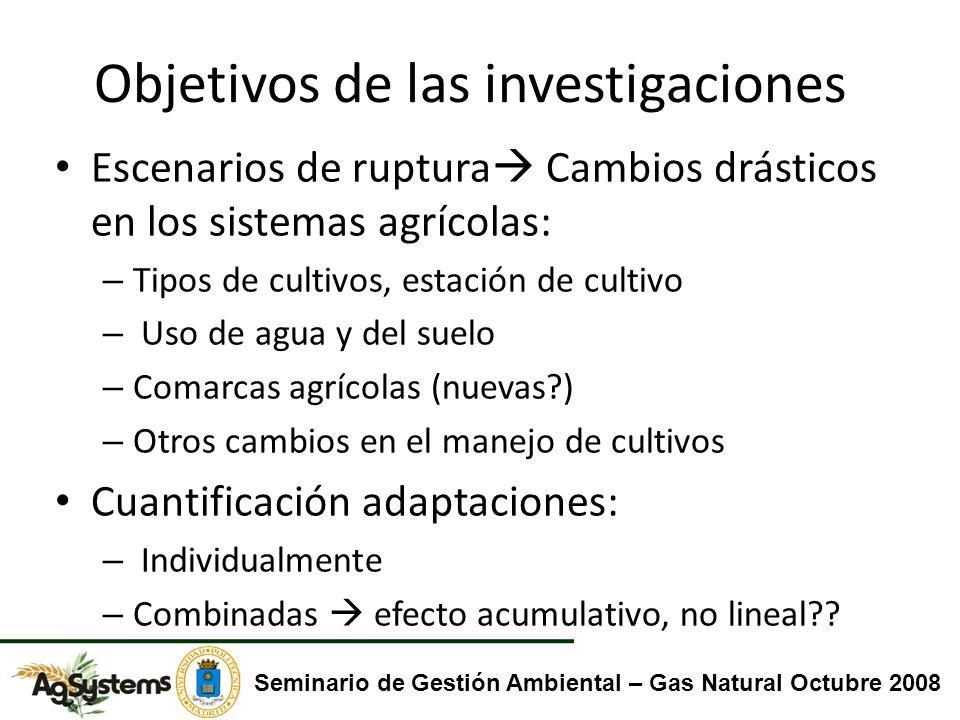 Objetivos de las investigaciones Escenarios de ruptura Cambios drásticos en los sistemas agrícolas: – Tipos de cultivos, estación de cultivo – Uso de