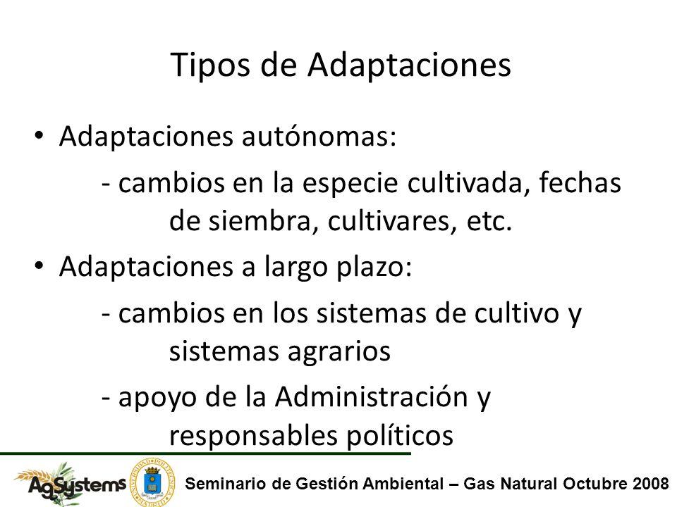Tipos de Adaptaciones Adaptaciones autónomas: - cambios en la especie cultivada, fechas de siembra, cultivares, etc. Adaptaciones a largo plazo: - cam