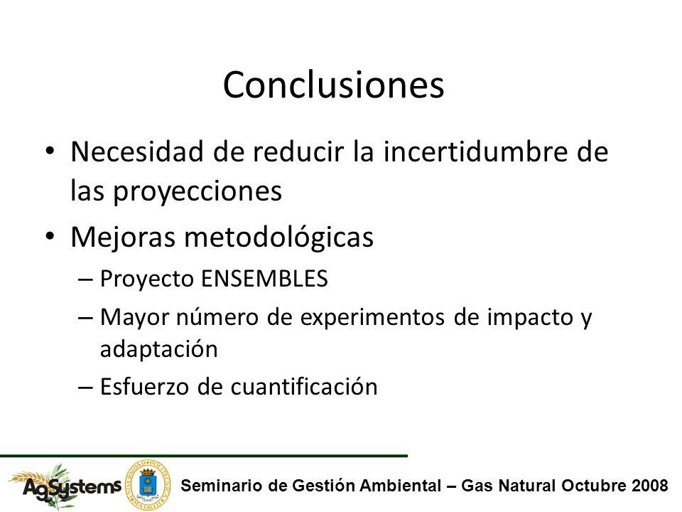 Conclusiones Necesidad de reducir la incertidumbre de las proyecciones Mejoras metodológicas – Proyecto ENSEMBLES – Mayor número de experimentos de im