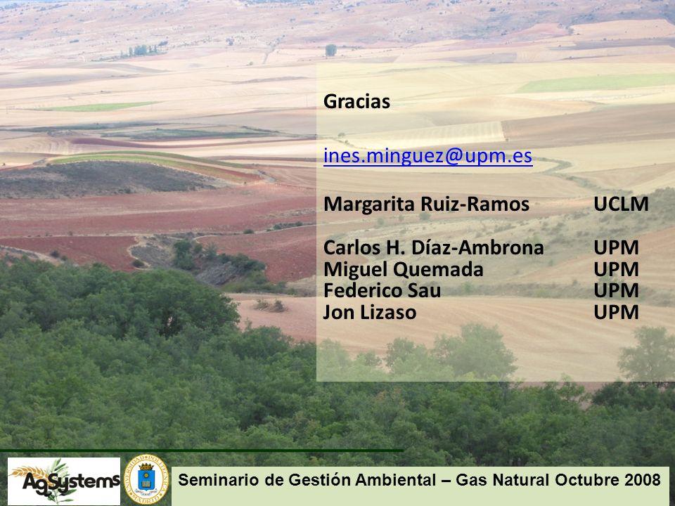 Gracias ines.minguez@upm.es Margarita Ruiz-Ramos UCLM Carlos H.