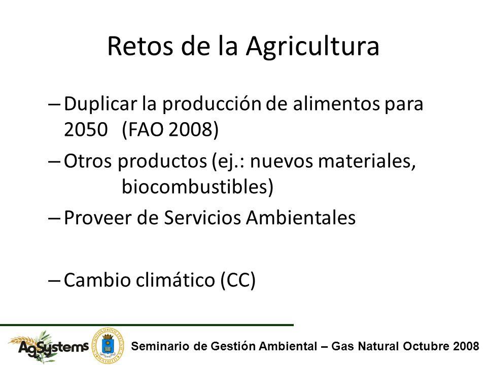 Retos de la Agricultura – Duplicar la producción de alimentos para 2050 (FAO 2008) – Otros productos (ej.: nuevos materiales, biocombustibles) – Prove