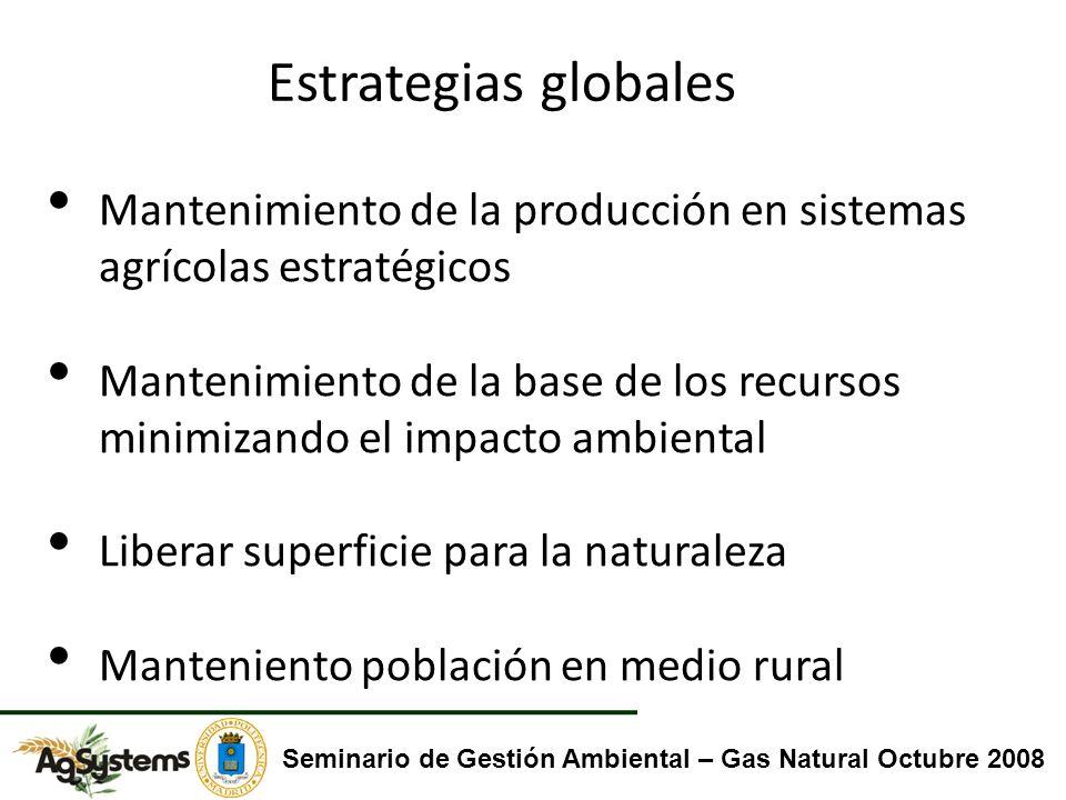 Mantenimiento de la producción en sistemas agrícolas estratégicos Mantenimiento de la base de los recursos minimizando el impacto ambiental Liberar su
