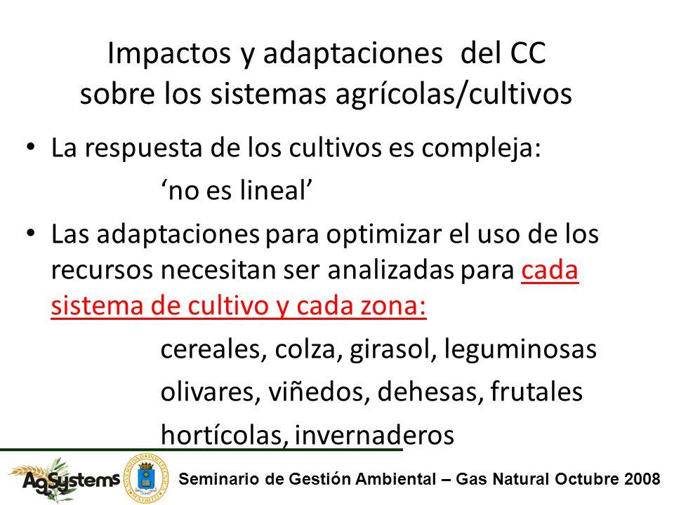 Impactos y adaptaciones del CC sobre los sistemas agrícolas/cultivos La respuesta de los cultivos es compleja: no es lineal Las adaptaciones para opti