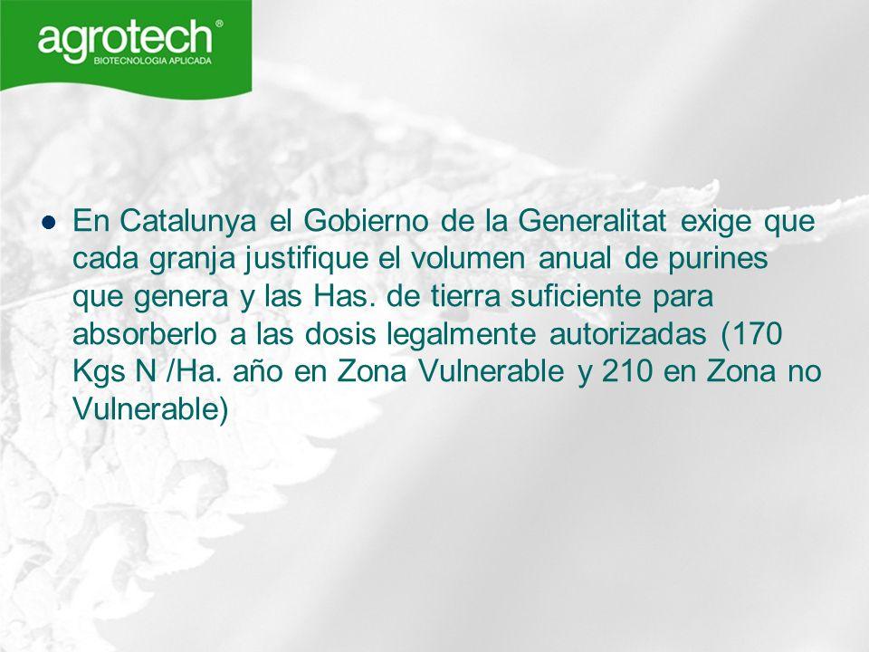En Catalunya el Gobierno de la Generalitat exige que cada granja justifique el volumen anual de purines que genera y las Has. de tierra suficiente par