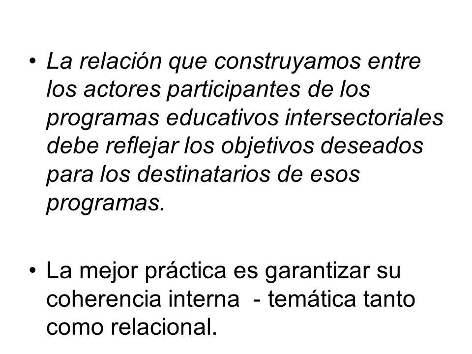 La relación que construyamos entre los actores participantes de los programas educativos intersectoriales debe reflejar los objetivos deseados para los destinatarios de esos programas.