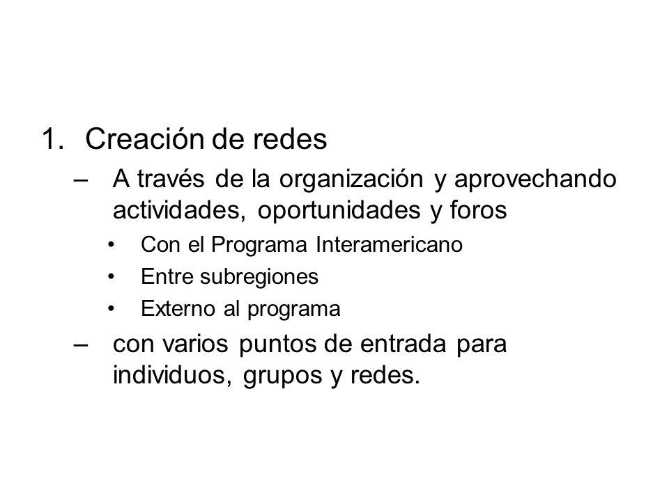 1.Creación de redes –A través de la organización y aprovechando actividades, oportunidades y foros Con el Programa Interamericano Entre subregiones Ex