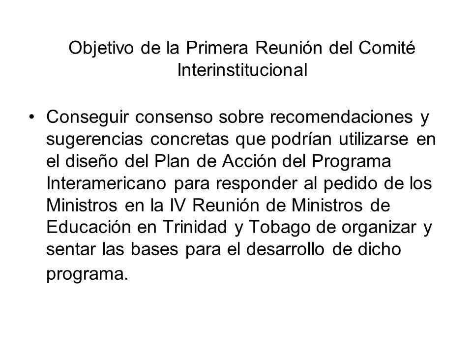Objetivo de la Primera Reunión del Comité Interinstitucional Conseguir consenso sobre recomendaciones y sugerencias concretas que podrían utilizarse e