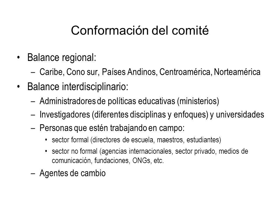 Conformación del comité Balance regional: –Caribe, Cono sur, Países Andinos, Centroamérica, Norteamérica Balance interdisciplinario: –Administradores