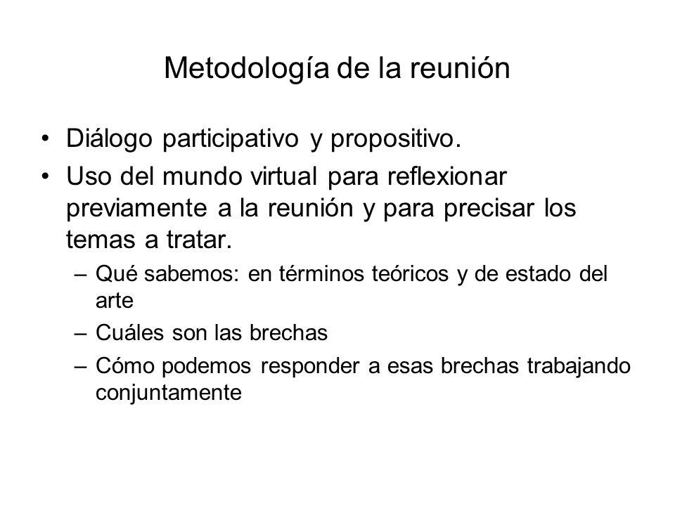 Metodología de la reunión Diálogo participativo y propositivo. Uso del mundo virtual para reflexionar previamente a la reunión y para precisar los tem