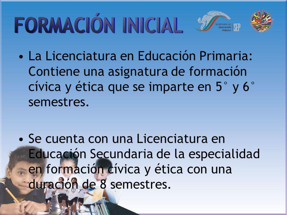 La Licenciatura en Educación Primaria: Contiene una asignatura de formación cívica y ética que se imparte en 5° y 6° semestres. Se cuenta con una Lice