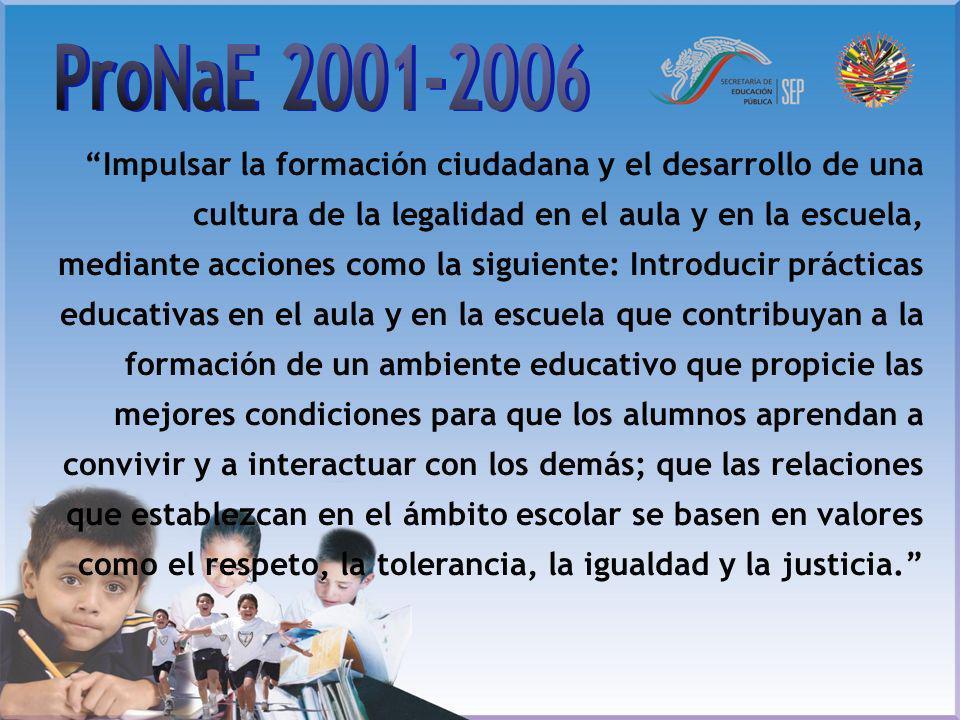 Impulsar la formación ciudadana y el desarrollo de una cultura de la legalidad en el aula y en la escuela, mediante acciones como la siguiente: Introd
