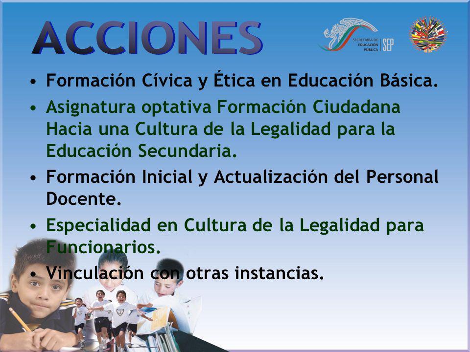 Formación Cívica y Ética en Educación Básica. Asignatura optativa Formación Ciudadana Hacia una Cultura de la Legalidad para la Educación Secundaria.