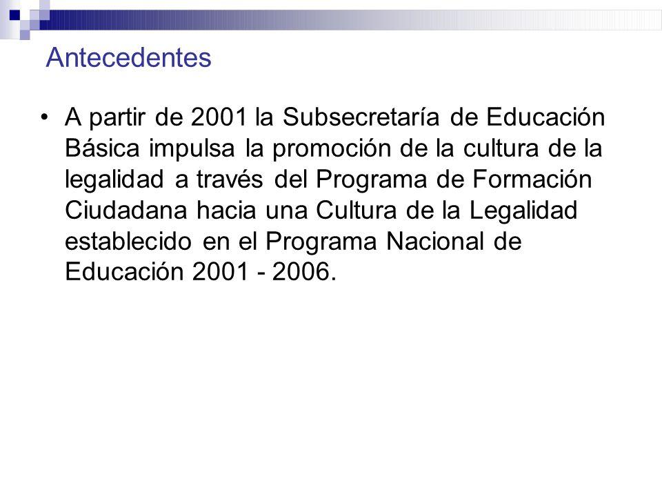 Antecedentes A partir de 2001 la Subsecretaría de Educación Básica impulsa la promoción de la cultura de la legalidad a través del Programa de Formaci
