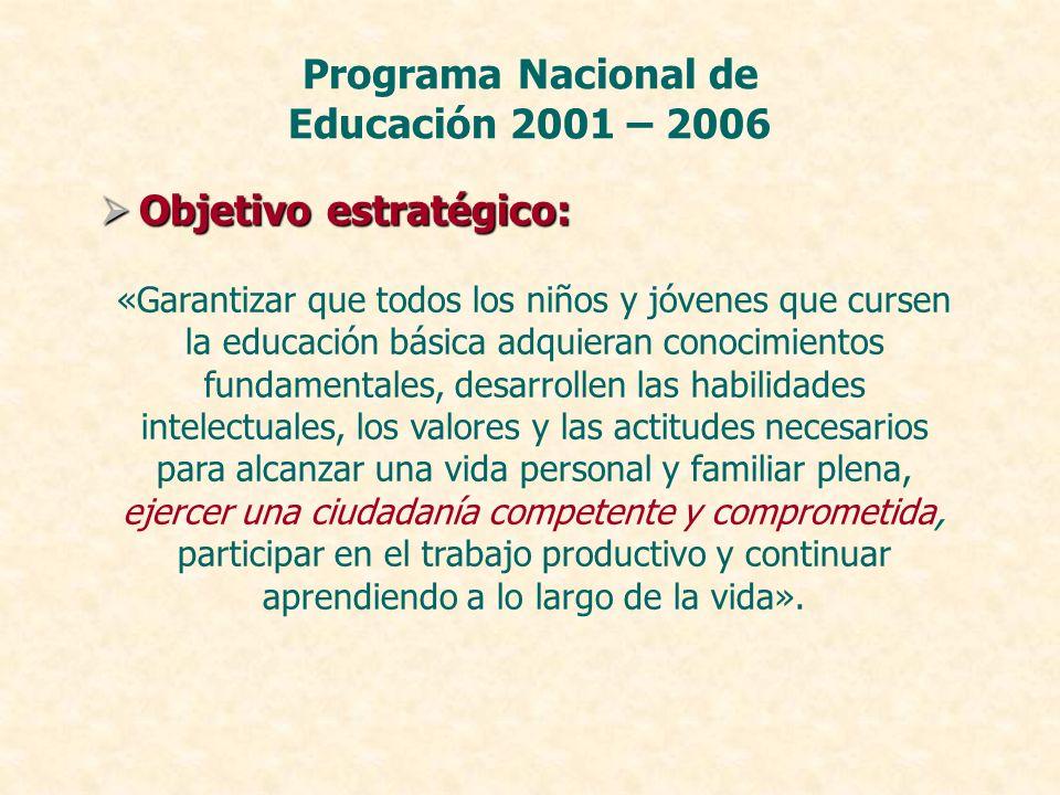 Objetivo estratégico: Objetivo estratégico: Programa Nacional de Educación 2001 – 2006 «Garantizar que todos los niños y jóvenes que cursen la educaci