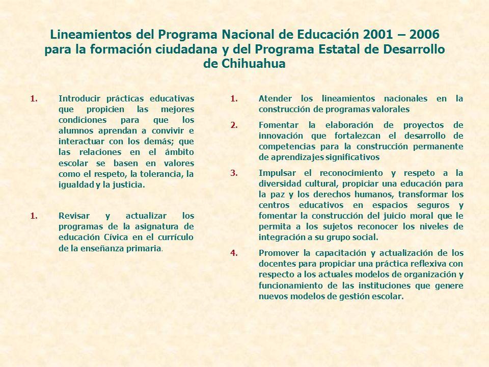 Lineamientos del Programa Nacional de Educación 2001 – 2006 para la formación ciudadana y del Programa Estatal de Desarrollo de Chihuahua 1.Introducir