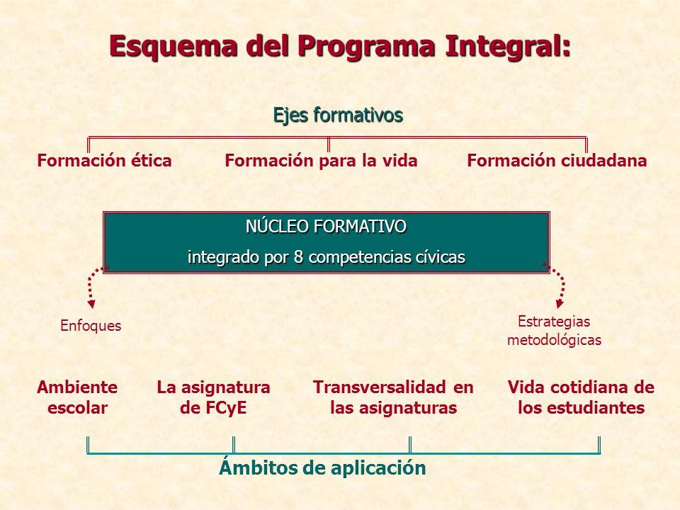 Esquema del Programa Integral: Enfoques Estrategias metodológicas NÚCLEO FORMATIVO integrado por 8 competencias cívicas Ambiente escolar Vida cotidian