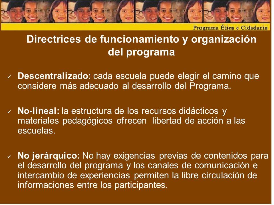 Directrices de funcionamiento y organización del programa Descentralizado: cada escuela puede elegir el camino que considere más adecuado al desarrollo del Programa.