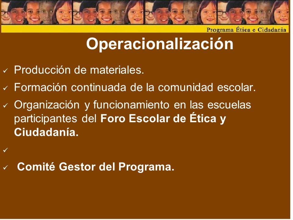 Operacionalización Producción de materiales.Formación continuada de la comunidad escolar.