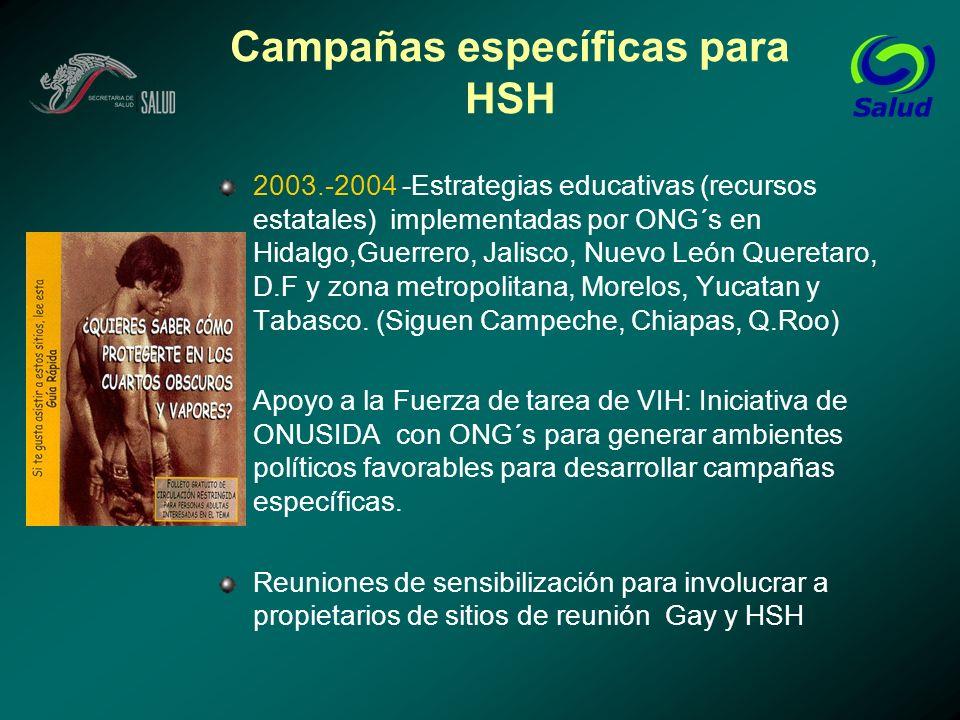 Campañas específicas para HSH 2003.-2004 -Estrategias educativas (recursos estatales) implementadas por ONG´s en Hidalgo,Guerrero, Jalisco, Nuevo León