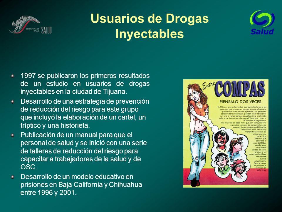 Usuarios de Drogas Inyectables 1997 se publicaron los primeros resultados de un estudio en usuarios de drogas inyectables en la ciudad de Tijuana. Des