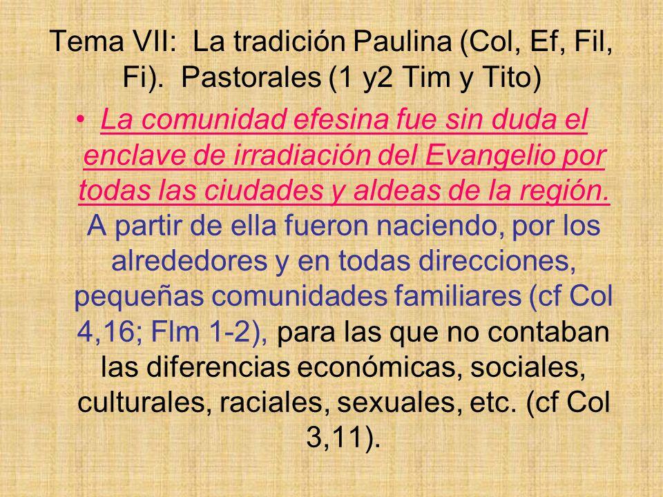 Tema VII: La tradición Paulina (Col, Ef, Fil, Fi). Pastorales (1 y2 Tim y Tito) La comunidad efesina fue sin duda el enclave de irradiación del Evange