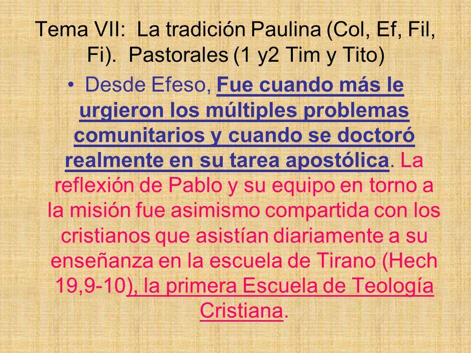 Tema VII: La tradición Paulina (Col, Ef, Fil, Fi). Pastorales (1 y2 Tim y Tito) Desde Efeso, Fue cuando más le urgieron los múltiples problemas comuni