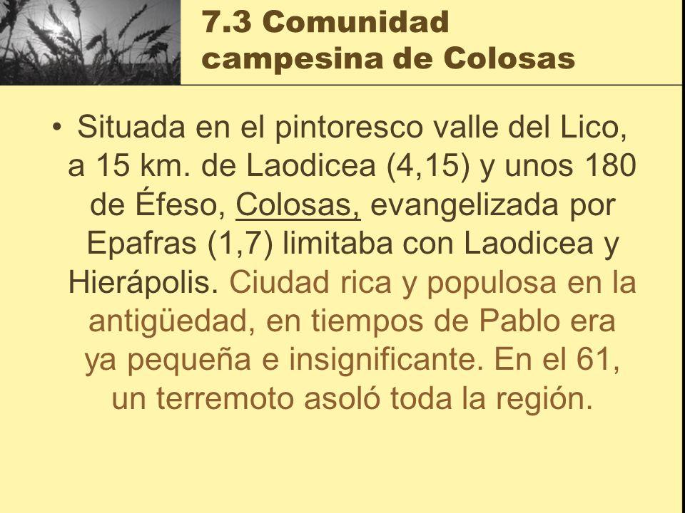 7.3 Comunidad campesina de Colosas Situada en el pintoresco valle del Lico, a 15 km. de Laodicea (4,15) y unos 180 de Éfeso, Colosas, evangelizada por