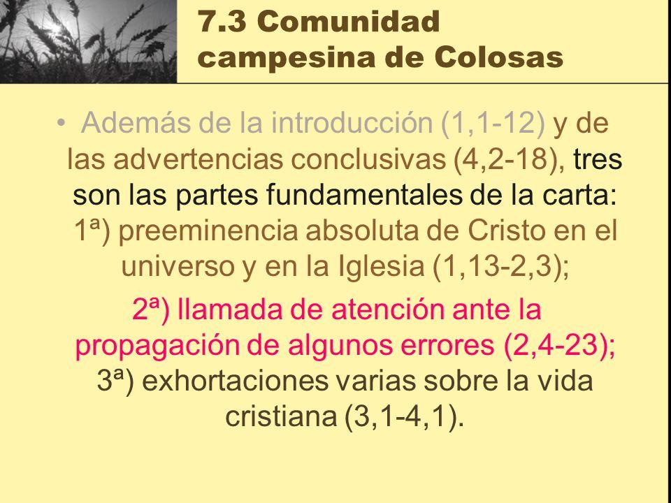 7.3 Comunidad campesina de Colosas Además de la introducción (1,1-12) y de las advertencias conclusivas (4,2-18), tres son las partes fundamentales de la carta: 1ª) preeminencia absoluta de Cristo en el universo y en la Iglesia (1,13-2,3); 2ª) llamada de atención ante la propagación de algunos errores (2,4-23); 3ª) exhortaciones varias sobre la vida cristiana (3,1-4,1).