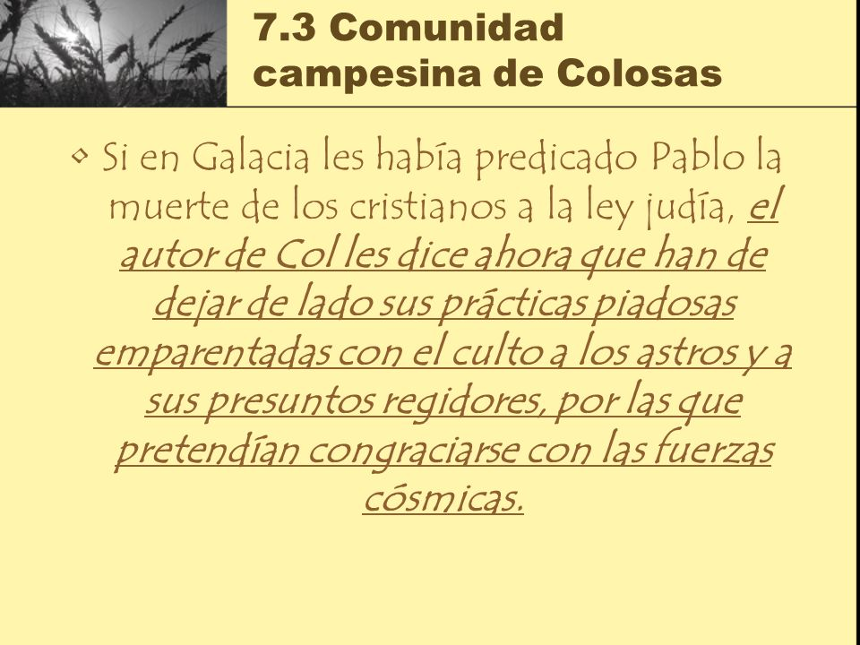 7.3 Comunidad campesina de Colosas Si en Galacia les había predicado Pablo la muerte de los cristianos a la ley judía, el autor de Col les dice ahora